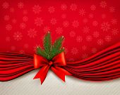 Chistmas Holiday Background With Gift Glossy Bow And Ribbons. Vector.