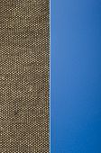burlap on blue background with copy space