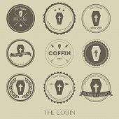 stock photo of coffin  - creative design of The vintage style of coffin business logo - JPG