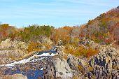 Great Falls National Park in autumn Virginia USA.