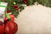 Christmas Decoration In Wood Background