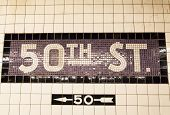 stock photo of 50th  - The underground wall mosaic of the direction to 50th Street  - JPG