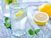 stock photo of cold drink  - cold drink with mint and fresh lemon - JPG