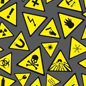 image of fragile sign  - yellow and black danger and warning signs pattern eps10 - JPG