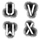 vector stencil angular spray font letters U V W X