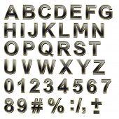 Black alphabet set with gold frame uppercase letter.