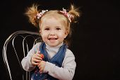 pic of ponytail  - portrait of little girl with ponytail hairstyle - JPG