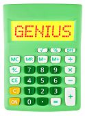 Calculator With Genius On Display Isolated