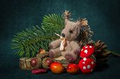 Christmas Composition. Handmade - Knitting Squirrel.