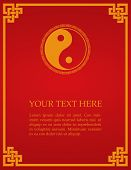 stock photo of taoism  - Traditional Asian red and gold yin yang symbol design book cover or flier with space for text - JPG