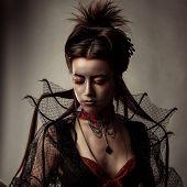 pic of gothic girl  - Fashion Gothic Style Model Girl Portrait - JPG