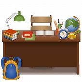 foto of knapsack  - Pupil desk with school supplies and knapsack isolated on white background - JPG