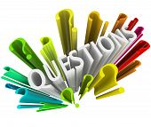 pic of question-mark  - The word Questions surrounded by question marks - JPG