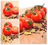 stock photo of bay leaf  - Cherry tomatoes with black pepper and bay leaf on the wooden background - JPG