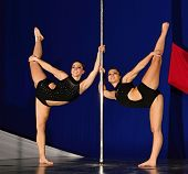 stock photo of pole dancing  - Pole dance double worl championship Prague 2014 - JPG