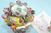 picture of decoupage  - Handmade decoupage Easter eggs on a handmade paper plate with a Happy Easter card  - JPG
