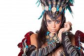 picture of samba  - Portrait of beautiful young samba dancer isolated on white - JPG