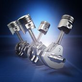 picture of piston-rod  - V4 engine pistons and cog on black background - JPG