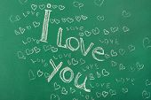 stock photo of heartfelt  - I Love You written on blackboard - JPG