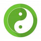pic of ying-yang  - ying yang green flat icon  - JPG
