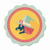 picture of witch  - Witch Hat Flat Icon With Long Shadow - JPG