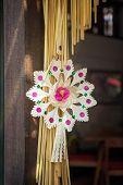 foto of rakshabandhan  - Hindu festival decoration adorning temple in Bali - JPG