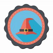 pic of witch  - Witch Hat Flat Icon With Long Shadow - JPG
