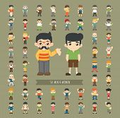 picture of caricatures  - Set of men and women character eps10 vector format - JPG