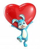 stock photo of meals wheels  - 3d Illustration of Easter Bunny character with heart pose - JPG