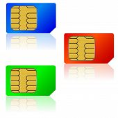 image of micro-sim  - The Set SIM cards a Vector illustration - JPG