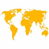 stock photo of cartographer  - The Silhouette World Map a Vector illustration - JPG