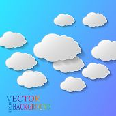 foto of compose  - Vector abstract background composed of white paper clouds over blue - JPG