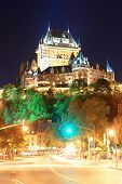 picture of chateau  - Street view with Chateau Frontenac at night in Quebec City - JPG