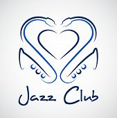 pic of saxophones  - Jazz club logo a heart out of saxophones - JPG