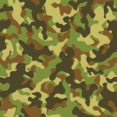 stock photo of camouflage  - Vector illustration of woodland camouflage seamless pattern - JPG