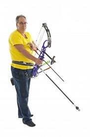 foto of longbow  - Man with yellow shirt and jeans holding a longbow isolated in white - JPG