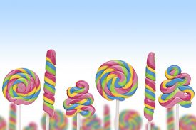 stock photo of lolli  - Fantasy sweet candy land with lollies on blue background - JPG