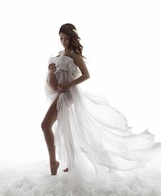picture of maternity  - Pregnant Woman Dress Pregnancy Maternity Concept Beautiful Waving Flying Gown - JPG