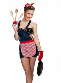 picture of maids  - Appealing maid wearing apron with kitchen utensils  - JPG