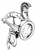 pic of spartan  - An illustration of a gladiator warrior character or sports mascot in a trojan or Spartan style helmet holding a sword and shield - JPG