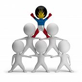picture of human pyramid  - 3d small people standing on each other in the form of a pyramid with the top leader Antigua and Barbuda - JPG