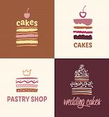 Постер, плакат: Set of patterns vector logos cakes