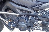 picture of crotch-rocket  - Side view of a custom motorcycle engine - JPG