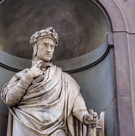 stock photo of alighieri  - detail of the statue of Dante Alighieri in Florence