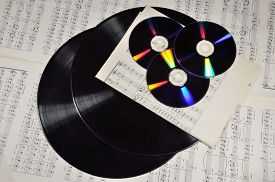 stock photo of lp  - New and old generation of media - JPG