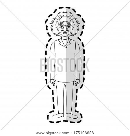 poster of albert einstein icon image sticker vector illustration design