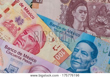 Different Mexican Money Background