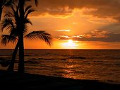 pic of beach sunset  - Beautiful Sunset at the Big Island of Hawaii - JPG