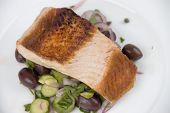 Chargrilled Salmon Steak On Salad