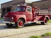 foto of fire truck  - an old fire truck taken out of service and used only for parades - JPG
